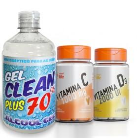 Vitamina C + D + Álcool 70% Antisséptico 500ml