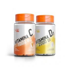 Vitamina C + Vitamina D com 60 cápsulas cada